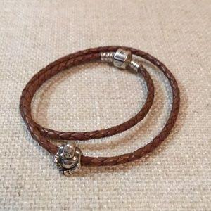 Pandora leather wrap bracelet with Buddha charm